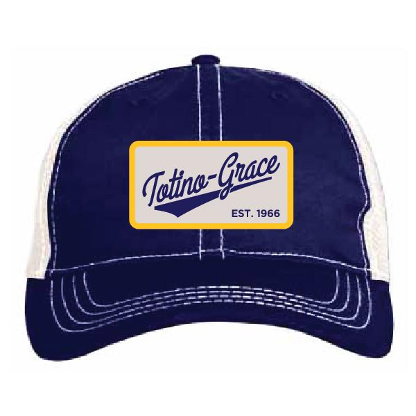 ** Pacific Headwear Vintage Trucker Mesh Cap - Navy/Ivory  V67
